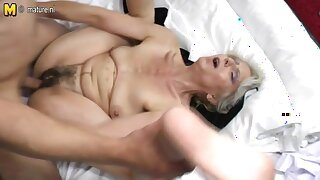Unshaved grandma hard fucked by young lover