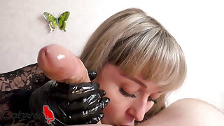 Ebony gloves bring my cock to ejaculation