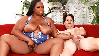 Ebony BBW Olivia Leigh Has Her Juicy Inborn Boobs Splashed With Spunk