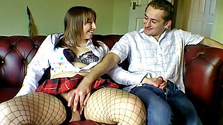 Chubby and chatty girlfriend in fishnet tights