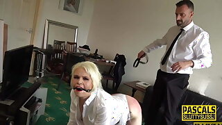 Whipped and gagged mature submissive tart