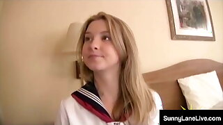 Bitchy Student Sunny Lane Gets Lil' Twat Noodled By Asian!