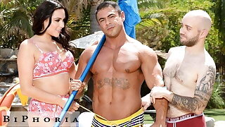 Pool Boy Hunk Shared With Boss & Curvy Wife - BiPhoria