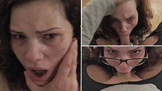 First-timer slut goes on her knees for a sloppy POV deepthroat