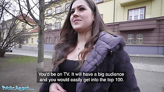 Public Agent, Celeb lookalike Sereyna Gomez porked on stairs