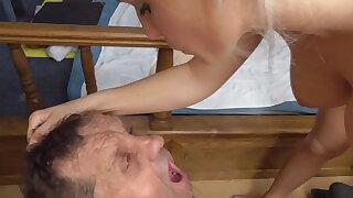 goddess empire spit cum in mouth of cuckold gimp