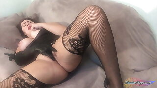 Diminutive Bootylicious Honey in Gloves Paws Huge Tits, Pump Pussy
