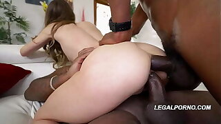 Interracial pummel fiend Jillian Janson's holes wallowed out DP'd with 2 BBC