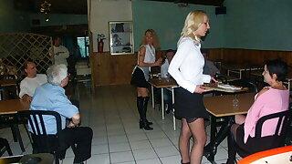 3 anal hot maids at restaurant