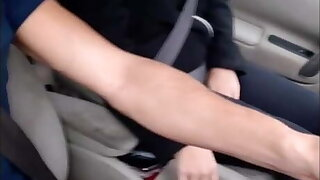 I give a hitchhiker a ride and I pull out my cock discreetly..