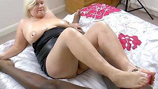 GRANNYLOVESBLACK - Grandma Jerks Lubed Cock With Feet