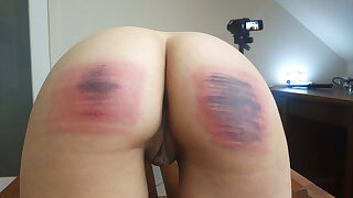 Submissive girls caned.