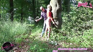 German submissive slut disciplined in forest
