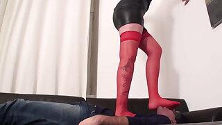 big mistress destroy poor slave maskjoe under her feet