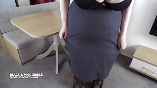 Sally in full black bra and open pubes girdle