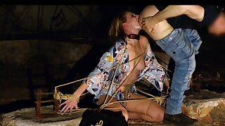 Bound Ashley Lane gets night time face fucking and rimjob