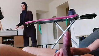 OMG! He pulls out his cock in front of this Muslim maid