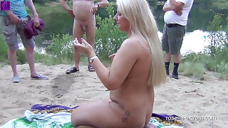 Public scandal at a bathing lake. Cockslut Used by Everyone! 2