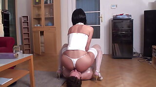 turkish mistress smother wrapped bobby in white lingerie