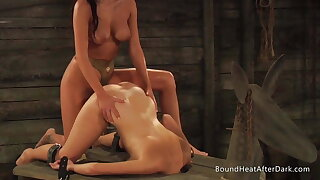 Bound Lesbian Slave Takes Strap-On Doggystyle And Climaxes