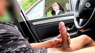 I pull out my cock on the motorway area, this nun is shocked