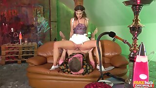 Sultry Hungarian chick pleasuring Steve on the sofa