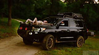 Slim newbie tied to truck for rough ass fuck and face fuck
