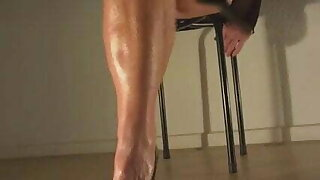 Blond girl toe tapping and playing in black high heels