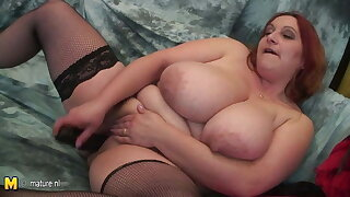 Mature mummy with VERY BIG TITS and her rubber cock