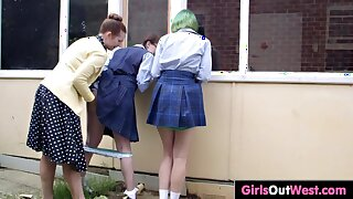 Hairy schoolgirls have fuck-a-thon with headmistress