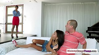 Drizzling petite teens 3some with stepmom