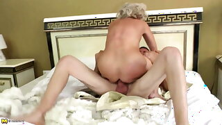 Lovely old mother suck and tear up her young lover