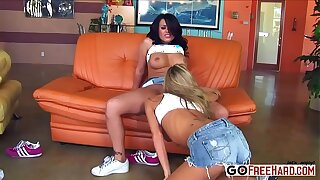 Interracial girl-on-girl gang bang porn HD Video;
