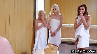 Three teen hotties share a firm monstercock in a sauna