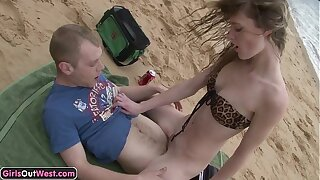 Skinny amateur female fucked on the beach