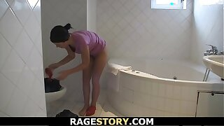 Czech girl takes rough plumbing after shower