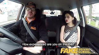 Fake Driving College Rough back seat fuck for smallish infatuated learner