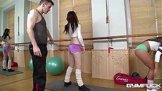 Gym fuck with nicely-shaped teenagers Bella Baby & Timea Bela makes your cum gush!
