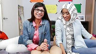 MIA KHALIFA - Busty Arab Pornstar Teaches Her Muslim Friend How To Suck Cock