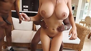 Big-titted muslim girl with huge boobs gets fucked by two black guys.