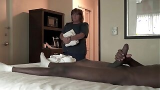 NICHE PARADE - BBW Motel Maid Strokes Big Black Cock With White Hands