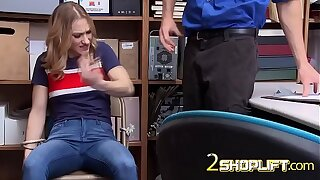 Petite shoplifter teenager is having rough romp with this horny cop.