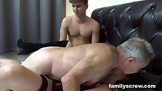 Fucked up Father and Son Boinking an Old Breezy