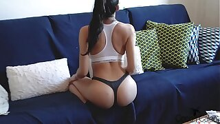YOUNG AMATEUR BABE IN CALVIN Boulder-holder GETS Screwed ON A COUCH WITH CUM ON HER ASS
