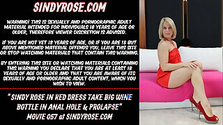 Sindy Rose in red sundress take big champagne bottle in anal hole