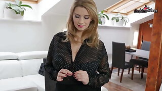 Pregnant Secretary plays with her HUGE tits