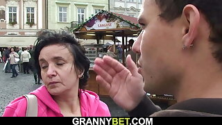 Picked up old brunette grandmother rides his dick